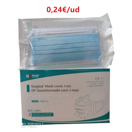 Tai Da Kang 3-Layer Surgical Disposable Masks CE 50uds